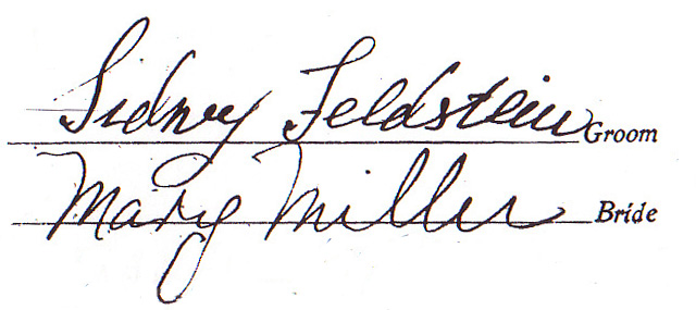 Sidney Feldstein Signature, Marriage Certificate
